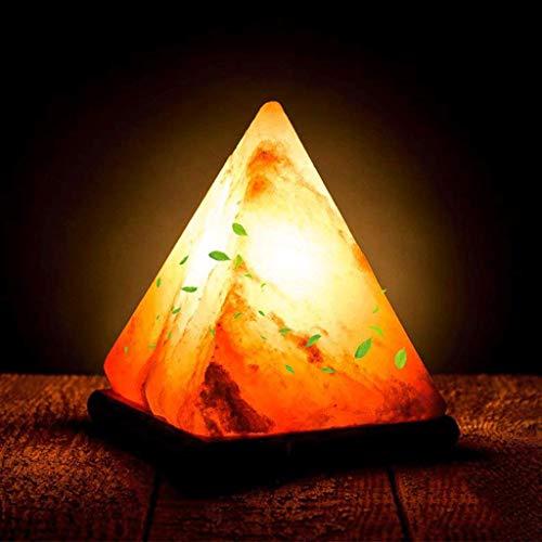 KX&VV USB Himalaya Zout Lamp Lucht Zuiveren Nachtlampje RGB Driehoek Tafellamp Crystal Rock Lamp Houten Base Kleurrijke Hand Gesneden voor Studie Slaapkamer Dedside Lamp, Afmetingen: 7 * 7 * 10,5 cm Mood Lights