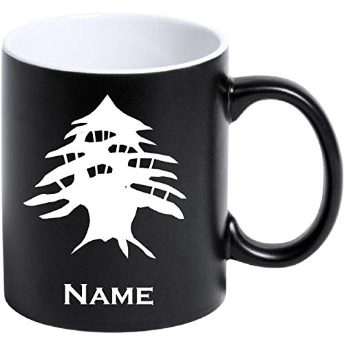aina Tasse Kaffeetasse Libanon Flagge mit Namen Bedruckt Matt Schwarz
