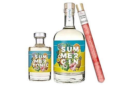 Wajos Summer Gin 0,5l – 42% vol. & Summer Gin Tonic 0,2l & gratis Oliv & Co. Himbeerzucker im Reagenzglas zum Mixen von Cocktails