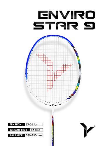 Young ENVIRO Star Professional Badminton Racket, Lightweight, Japan High Modulus 40-Ton Graphite, Includes Carrying Bag (BWF World Championship Series) (Strung, Enviro 9)