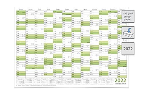 Calendario da parete/organizzatore annuale XL 2022 grande formato A0 118,8 x 84,0 cm materiale 135g/m2 stampa di qualità piegata