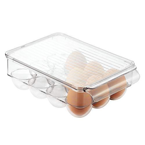 InterDesign Fridge/Freeze Binz boite à œufs, petit rangement pour œufs en plastique pour 12 œufs, transparent