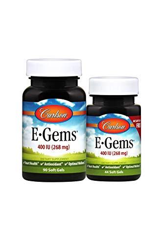 Carlson - E-Gems, 400 IU (268 mg), Natural-Source Vitamin E, Heart Health & Optimal Wellness, Antioxidant, 90+44 Soft Gels