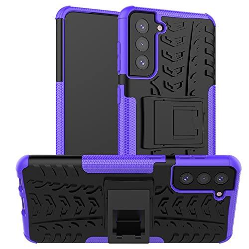 ZHENGNING Case Cover, Custodia Protettiva per Samsung Galaxy S21 Plus, TPU + PC Bumper Hybrid Military Grade Case Robusto, Cassa del Telefono Antiurto con cavalletti (Color : Purple)