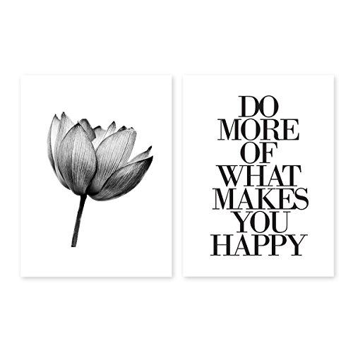 PHOTOLINI 2er Set Design-Poster No.12 30x40 cm schwarz-Weiss Motive Lotus Lotosblume Spruch Typographie