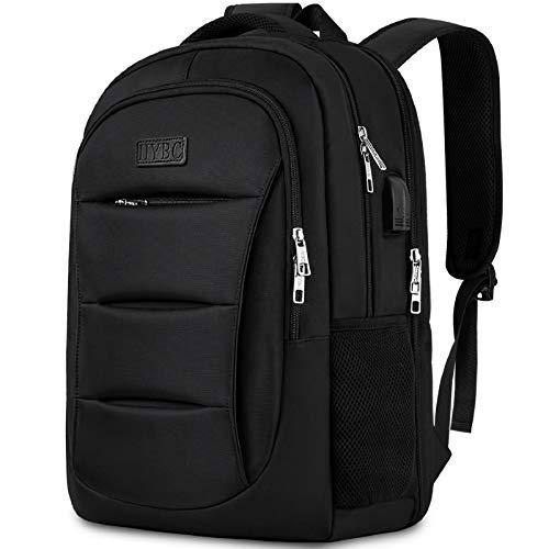 IIYBC Laptop Rucksack, 15.6 Zoll Diebstahlschutz Reise Rucksack mit USB-Ladeanschluss, Business Schulrucksack dayback Freizeit Rucksack für Herren und Damen (schwarz)