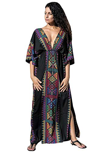 Vestido Boho Mujer Largo Talla Grande Camisolas y Pareos Indios Bohemio Hippie Chic Tunica Piscina Caftan Africano Kaftan Etnico Kimono Flores Maxi Dress Ropa Hawaiana Traje de Baño Bikini Cover Up