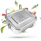 CF-Unity Brotdose Edelstahl Lunchbox auch für Kinder mit 3 Fächern [100% Auslaufsicher] Plastikfreie Jausenbox 1400ml groß für Arbeit, Schule, Reisen