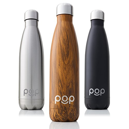 POP Design Stainless Steel Vacuum Insulated Water Bottle, Keeps Cold 24hrs. or Hot for 12hrs, Sweat & Leak-Proof, Narrow Mouth & BPA Free, 17 Oz (500ml), Zebrana