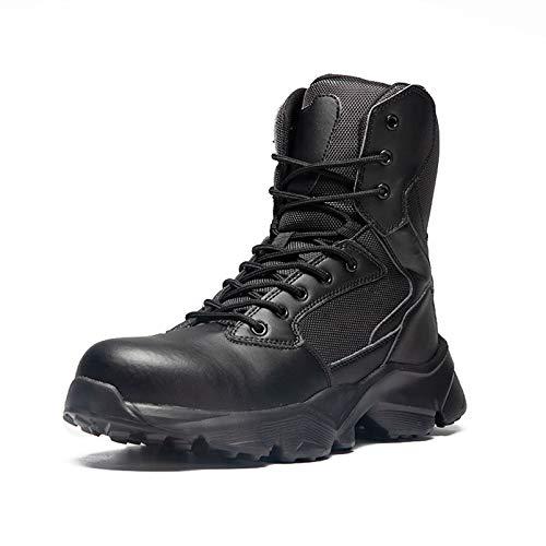 SMGPY Botas Militares con Punta De Acero Anti-Rotura Calzado De Protección Anti-Pinchazos para Hombre Botas De Combate Anti-Pinchazo De Cuatro Estaciones Botas Tácticas para Hombre,Negro,42