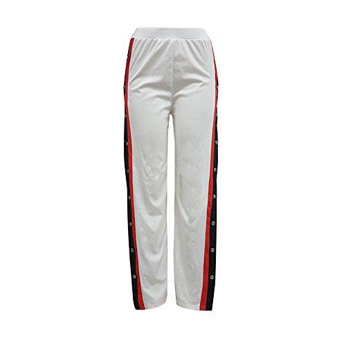 TWIFER Damen Knöpfe Hohe Taille Elegante Lange Hosen Bleistift Hose (S-5XL) (M, Weiß)