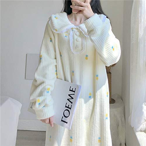 SDCVRE Pijama camisón de invierno,otoño casa ropa mujer pijamas vestido lindo blanco manga larga peter pan cuello camisones ropa de dormir de terciopelo cálido camisón, blanco, talla única