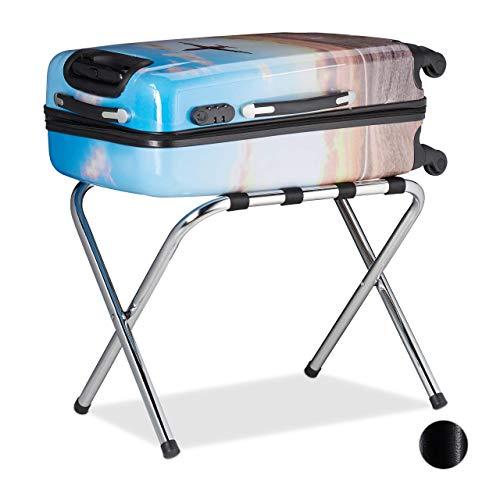 Relaxdays, Silber Kofferständer Metall, klappbar, Gepäckablage, Kofferaufbewahrung, für Reisegepäck, HBT: 44x59x41cm