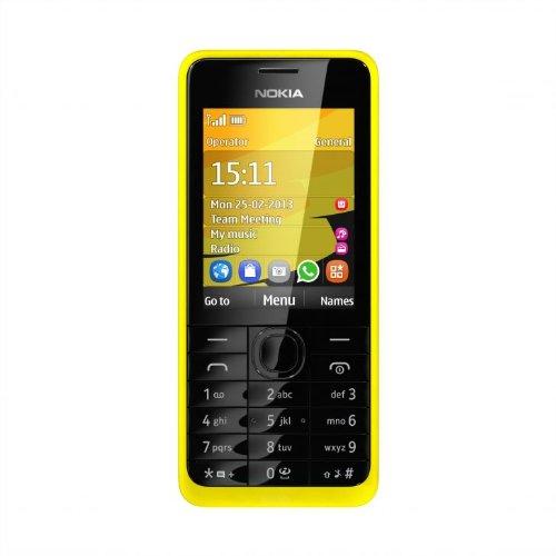 Nokia 301 Handy (64MB RAM, 6 cm (2,4 Zoll) Display, 3,2 Megapixel Kamera, Bluetooth, Micro-USB 2.0) gelb