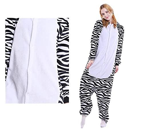 WEIYIing Pijamas Adultos Dibujos Animados de Dibujos Animados de una Pieza Pijamas Pareja Modelos Hombres y Mujeres Servicio de hogar Franela Zebra Animal Pijamas de una pieza-8t (Altura 115-125cm)