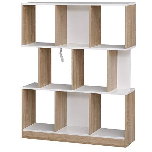 homcom Grande Scaffale Libreria a Parete in Legno con 8 Ripiani, Design Moderno, Color Rovere e Bianco, 100x24x124cm