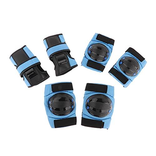 Perfeclan Conjunto de Engranajes de protección para niños/jóvenes, Rodilleras para niños y Codos Protector de muñeca 6 en 1 Equipo de protección para Scooter, Azul M