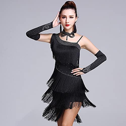 Señoras Vestido De Baile Borla Salón De Baile Tango Vestido De Baile Latino Traje De Competencia Falda De Baile con Flecos Y Lentejuelas para Mujer,Negro,L