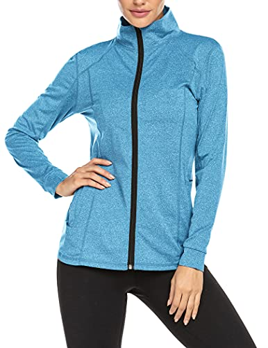 ADOME Damen Laufjacke Sportjacke Langarm Jacke Sweatjacke fuer Yoga Fitness Clearblau XL
