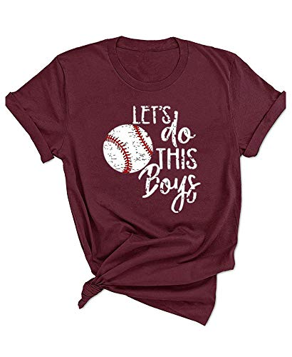 Womens Let's Do This Boy Baseball Mom Tshirt Casual Funny...