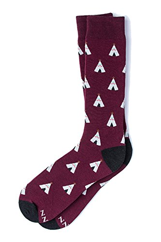 Men's Hipster Designer Teepee Tipi Tents Novelty Crew Dress Socks (Burgundy)