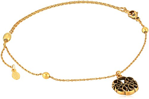 Alex and Ani Womens Path of Life Anklet, Rafaelian Gold, Expandable