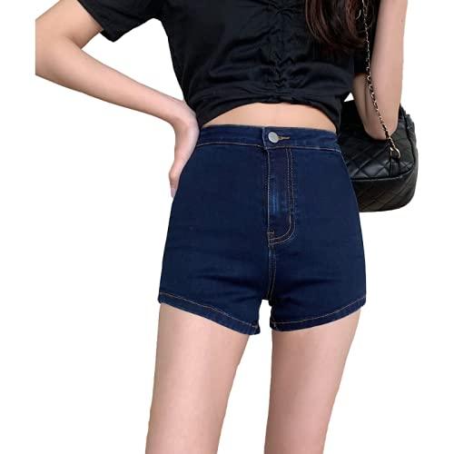 Pantalones Cortos de Mezclilla para Mujer Verano Retro de Cintura Alta Pantalones Cortos de Mezclilla de Cadera estirados Rectos Pantalones Cortos Americana L