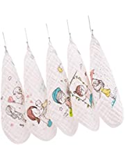 ULTNICE 5Pcs Baby Washcloths Cotton Muslin Washcloth Cartoon Printed Reusable Wipe Towel Saliva Bibs for Newborn Baby Shower Gift