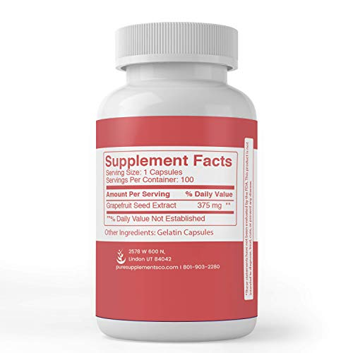 Grapefruit Seed Extract (100 Capsules) Natural & Non-GMO Essential Oils & Antioxidants (375 mg Serving)