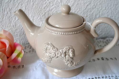 Teekanne - hübsche Teekanne im Landhausstil für 1 Liter Tee, aus Porzellan