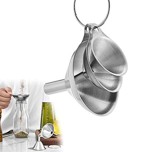 Stainless Steel Funnels for Kitchen,Small Metal Funnels (1.7Inch/ 2.2Inch/ 2.9Inch) No Spilling Food Grade Kitchen Funnels for Essentail Oil, Spices, Flask, Perfume
