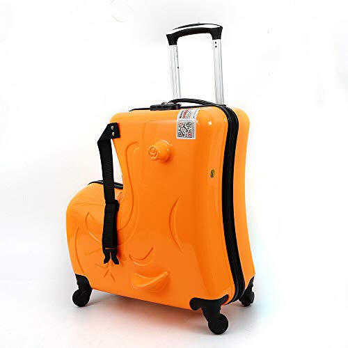 LOYALHEARTDY 20' Scooter Suitcase Portable Children's Suitcase with Wheels Carry on Trolley Luggage Kids Baggage Ride On Travel Suitcase Unisex Travel Tots Kids Trunk Orange