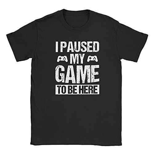 """Playera divertida con texto en inglés """"I Paused My Game to Be Here"""" para jugadores y jugadores - Negro - Large"""