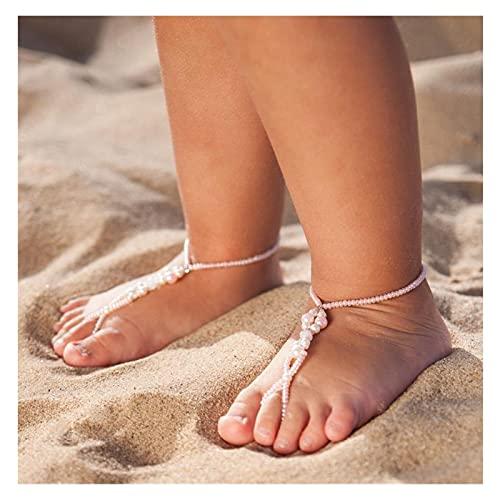 2021 New Chic Pink Blanco Imitación Pearl Cadena Elasticidad Toe Anillo Anklets Tobillo Bebé Niños Verano Playa Pie de Joyería Anklets Beach Barefoot Sandals Decoración (Color : One pcs- Pink)
