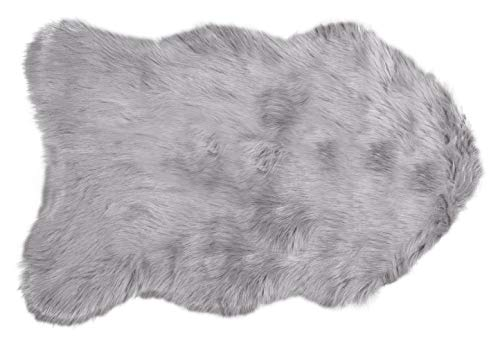 Luxe Thick Lush and Soft Pile 100% Animal-Free Gordon Sheepskin Faux Fur Area Rug, Sage Grey, 2 ft x 3 ft
