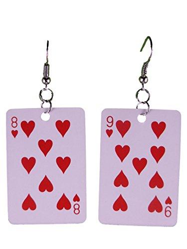 Ohrringe Ohrhänger Hänger Karte Kartenspiel Skat Herz leicht am Ohr 8300