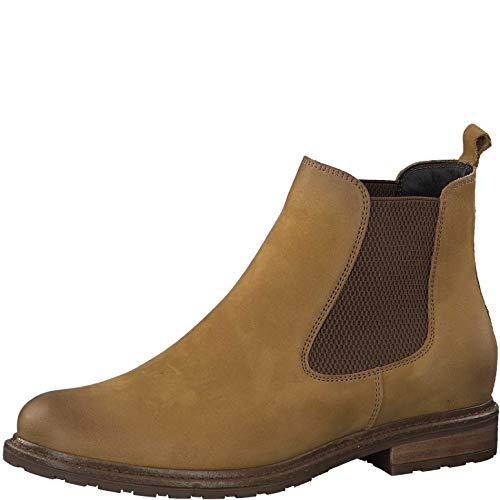 Tamaris Damen Stiefeletten, Frauen Chelsea Boots, Stiefel halbstiefel Bootie Schlupfstiefel flach weiblich Lady Ladies Women's,Mustard,41 EU / 7.5 UK