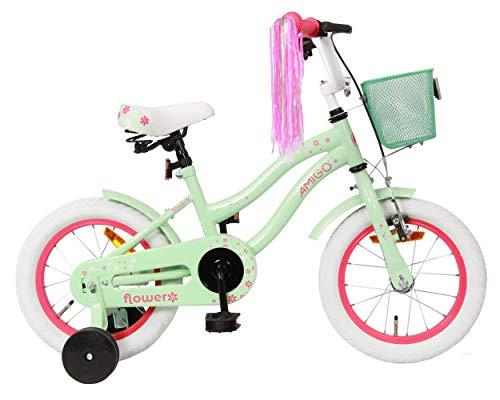 Amigo Flower - Kinderfahrrad - 14 Zoll - Mädchen - mit Rücktritt und Stützräder - ab 3 Jahre - Grün