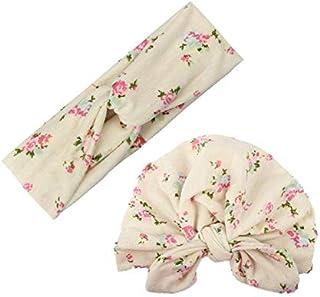 2pcs Mom Kids Bohemia Floral Print Hairband Turban Knot Rabbit Ears Headband Mother Baby Elastic Headwear Set Rice white