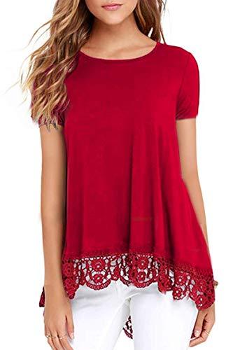 Odosalii Damen Langarm T-Shirt Pullover Rundhals Spitze Tunika Top Asymmetrisch Saum Oberteil Bluse Shirt (S-rot, XXL)