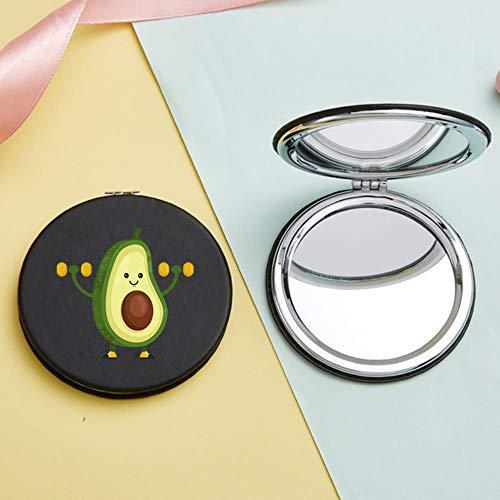 LASISZ Funny Avocado Lady Portable Pocket Makeup Mirror Mini Double-Side Folding Compact Vanity Cosmetic Magnifying Mirrors Beauty Tool, 80649 Black-r