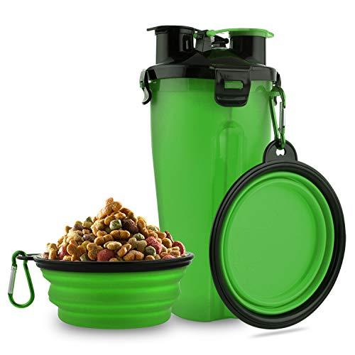 MATT SAGA Hund Trinkflasche und Futterflasche 2-in-1 mit 2 Faltbar Hunde Reisenapf Tragbare Hundewasserschüsseln zum Gehen, Wandern & Reisen (Grün)