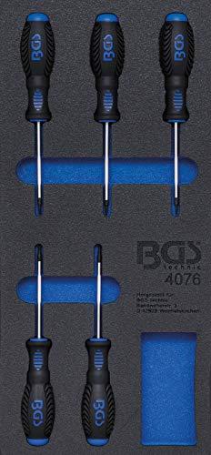 BGS 4076 | Insert de servante d'atelier 1/3 : Tournevis profil T (pour Torx) | 5 pièces