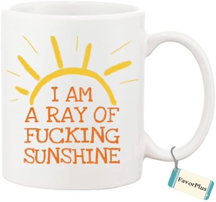 Best Gift Mug I Am A Ray Of Fucking Sunshine Motivational Inspired Quotes Saying Printed White Mug Coffee Tea Cup Two Sides Printed