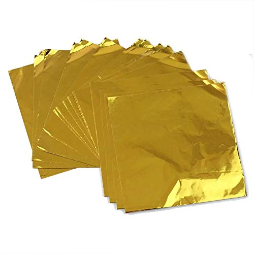Papel de Chocolate Envoltorio de Chocolate Envoltura de Papel de Aluminio para Chocolate para Hornear Dulces Dorados 100 piezas
