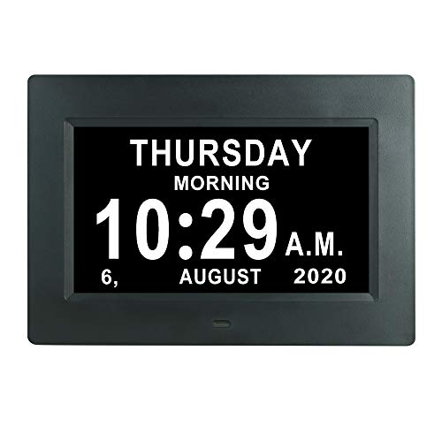 7 INCH Day Date Dementia Clock Auto-Dimming 12 Alarm Reminders Extra Large Non-Abbreviated Day & Month 12/24 Hours Display Digital Calendar Clocks for Seniors Elderly Vision Impaired Memory Loss
