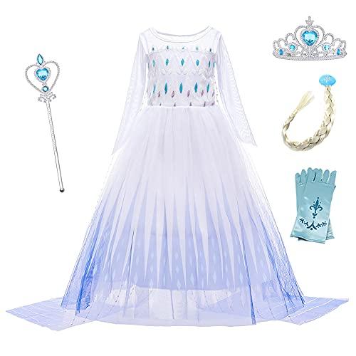 O.AMBW Elsa Disfraz niña Princesa Vestido Nieve Reina 2 Vestir Halloween Navidad Carnaval Fiesta cumpleaños Mascarada película Cosplay Sobredimensionado Capa Vestido de Noche 3-10 años