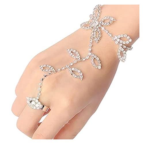 baidicheng Cadena de dedo con diamantes de imitación de cristal de la hoja de la mano arnés de la cadena esclava del pie anillo de dedo de moda