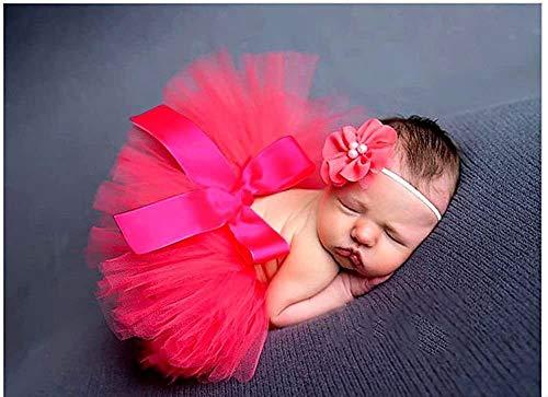 Tukistore Neugeborenes Baby Mädchen Rock Tutu Kleidung Trikot Kostüm Foto Prop Outfits Bekleidung Set mit Haarband;Rot