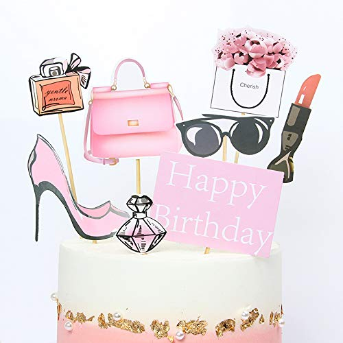 PureArte DIY Happy Birthday Diva Fashion Theme Cake Decoration Set For Girls And Women Party Decoration Lipstick Tote Bag Glasses Flowers Props